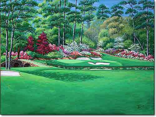 Amen Corner at Augusta by Joan Hansen is a golf painting of the Masters Tournament