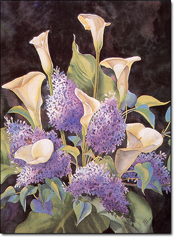 Calla Lilies and Lilacs by Joan Hansen