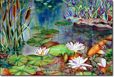 Koi Water Garden by Joan Hansen