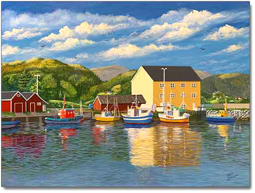Nestled in the Harbor, a painting by Joan Hansen