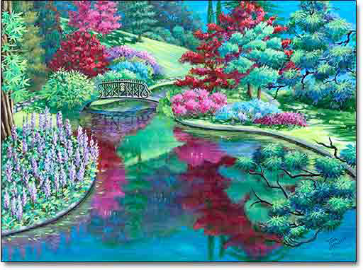 Reflections of a Bellagio Garden by Joan Hansen is a painting of one of the gardens at I Gardini di Villa Melzi in Bellagio, Italy