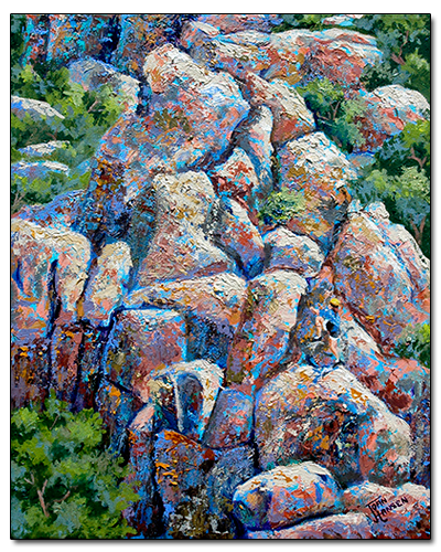 Rock Climbers at Mission Trails Park 2 by Joan Hansen